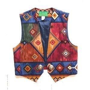 VINTAGE Southwestern Print Vest w/ Silver Conchos